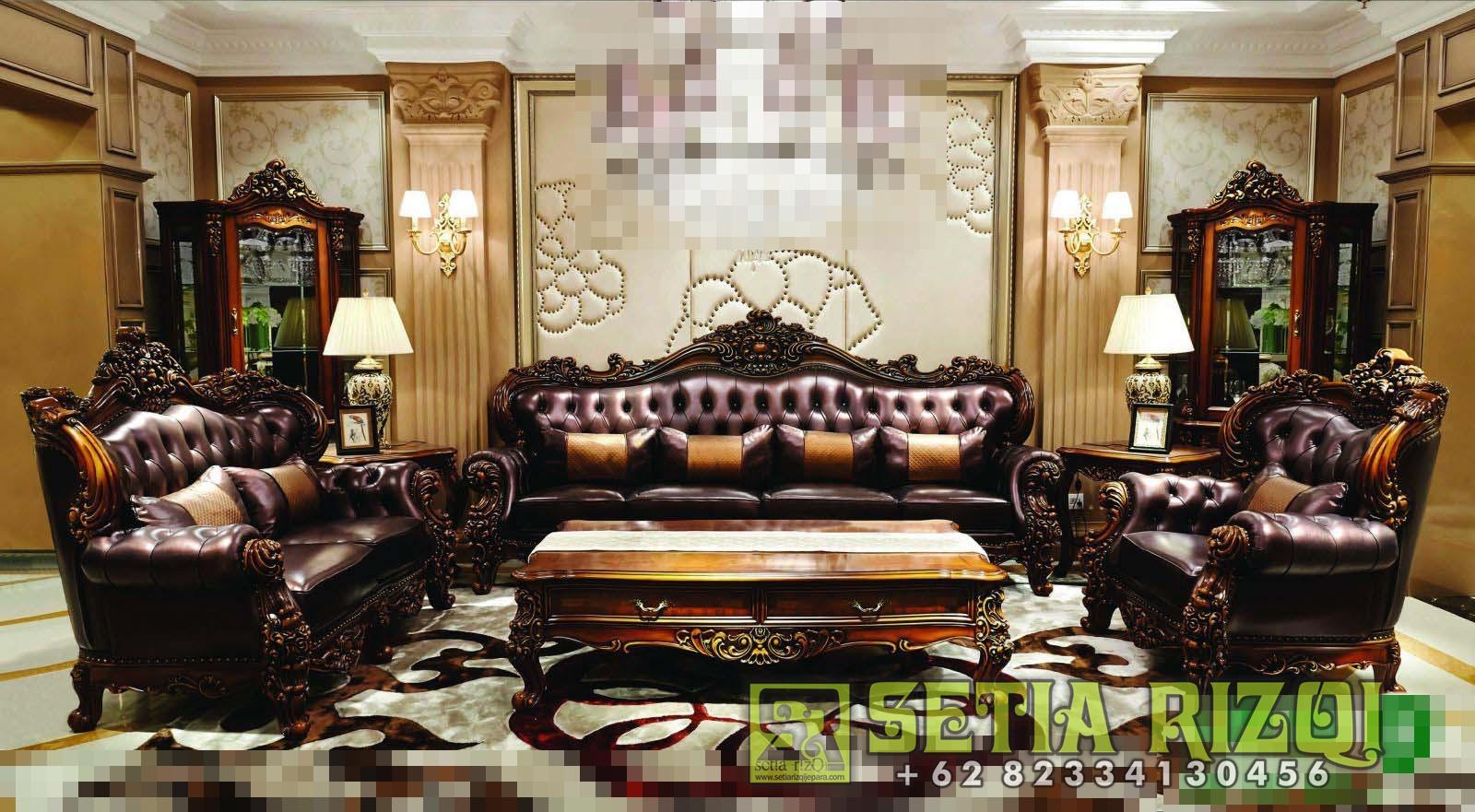 Set Kursi Sofa Ruang Tamu Mewah Klasikan Jepara