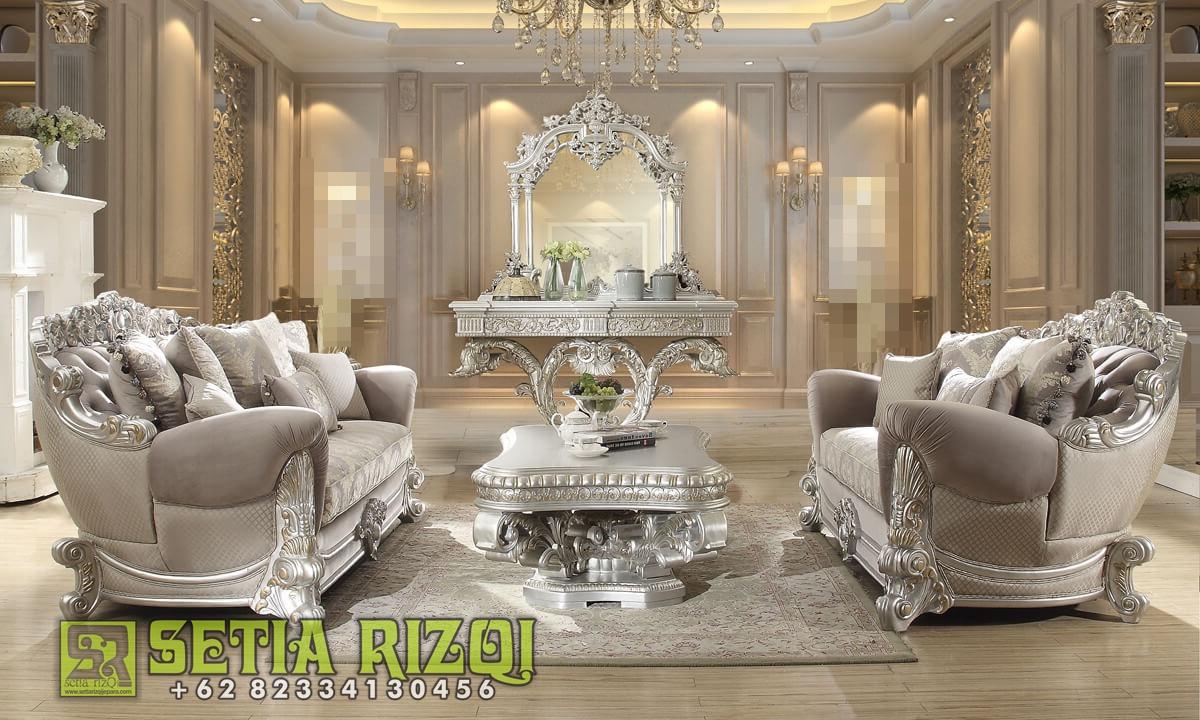 Kursi Sofa Ruang Tamu Mewah Ukiran Waldrof Klasik Jepara Duco