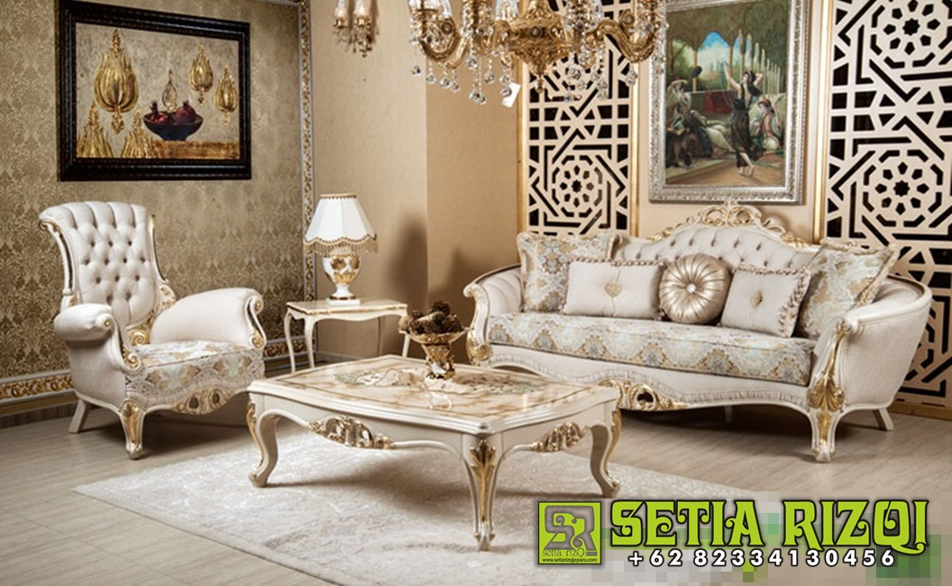 Satu Set Kursi Sofa Tamu Mewah Ukir Klasik Jepara Duco