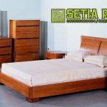 Set Tempat Tidur Kayu Mahoni Minimalis Jepara