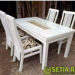 Set Meja Makan Klasik Putih Duco Minimalis Jepara