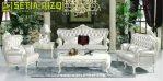 Sofa Tamu Klasik Putih Duco Ukir Mewah Jepara