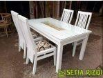 Meja Kursi Makan Klasik Putih Duco Minimalis Jepara